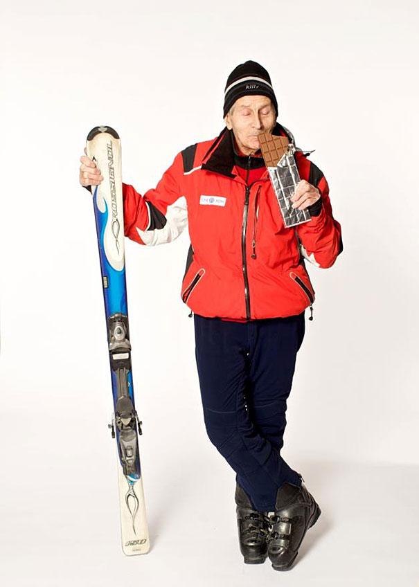 A 96 ans, Alexander Rozental fait toujours du ski