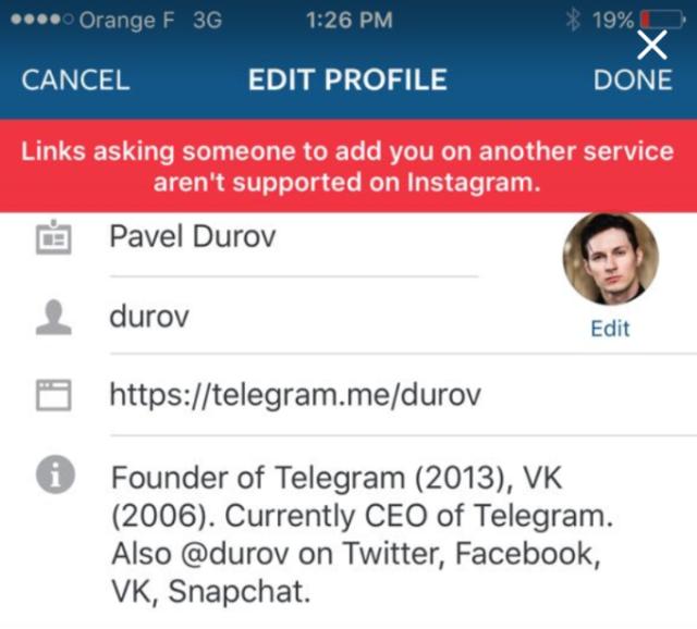 En bloquant Snapchat et Telegram dans Instagram, Facebook démontre qu'il n'aime pas ces services